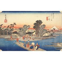 歌川広重: The Ferry at Rokugo near Kawasaki, no. 3 from the series Fifty-three Stations of the Tokaido (Hoeido Tokaido) - ウィスコンシン大学マディソン校