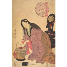Torii Kiyomine: Woman Kneeling by a Brazier, Spring from the series A New Publication of Modern Flowers for the Four Seasons - University of Wisconsin-Madison