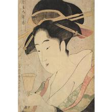 鳥高斎栄昌: The Courtesan Utamaki of the Take Establishment Holding a Goblet, from a series of Bust Portraits of Courtesans - ウィスコンシン大学マディソン校