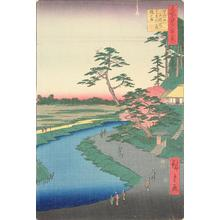 Utagawa Hiroshige: Basho's Hut on Camellia Hill Beside the Aquaduct at Sekiguchi, no. 40 from the series One-hundred Views of Famous Places in Edo - University of Wisconsin-Madison