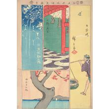 Utagawa Hiroshige: Fudo Waterfall at Meguro, Flower Viewing at Ueno, Maple Leaves at Kaianji, and Fish Seller at Nihonbashi, from the series Harimaze of Pictures of Famous Places in Edo - University of Wisconsin-Madison
