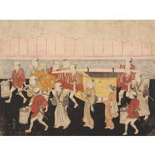 鈴木春信: Carrying the Bride to Her Future Home, from a series of Seven Prints Illustrating Scenes of Courtship and Marriage - ウィスコンシン大学マディソン校