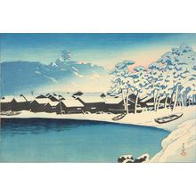 Kawase Hasui: Snowy Dawn at the Port at Ogi, Sado, from the series Souvenirs of Travel, Second Series - University of Wisconsin-Madison