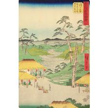 Utagawa Hiroshige: Distant View of the Kamakura Mountains from the Rest House by the Boundary Tree at Hodogaya, no. 5 from the series Pictures of the Famous Places on the Fifty-three Stations (Vertical Tokaido) - University of Wisconsin-Madison
