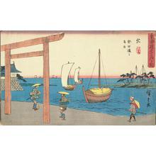 歌川広重: The Shrine Gate at Atsuta Bay near Miya, no. 42 from the series Fifty-three Stations of the Tokaido (Gyosho Tokaido) - ウィスコンシン大学マディソン校
