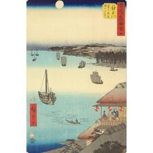 Utagawa Hiroshige: View of the Ocean from the Teahouses on the Hill at Kanagawa, no. 4 from the series Pictures of the Famous Places on the Fifty-three Stations (Vertical Tokaido) - University of Wisconsin-Madison