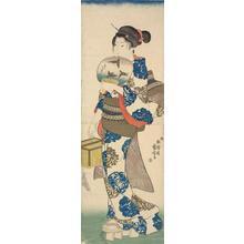 歌川国芳: Young Woman Holding a Cage and a Fan - ウィスコンシン大学マディソン校