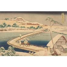 葛飾北斎: An Old Picture of the Pontoon Bridge at Sano in Kozuke Province, from the series Unusual Views of Famous Bridges in the Provinces - ウィスコンシン大学マディソン校