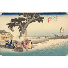 Utagawa Hiroshige: Outdoor Tea Stall at Fukuroi, no. 28 from the series Fifty-three Stations of the Tokaido (Hoeido Tokaido) - University of Wisconsin-Madison