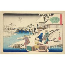 歌川広重: Snow Viewing at the Uekiya Restaurant at Mokubo Temple, from the series Famous Restaurants in Edo - ウィスコンシン大学マディソン校