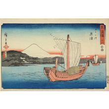 歌川広重: Kiyomi Barrier and Seiken Temple near Okitsu, no. 18 from the series Fifty-three Stations of the Tokaido (Marusei or Reisho Tokaido) - ウィスコンシン大学マディソン校