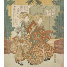 屋島岳亭: The Courtesan Hitofude of the Tama Establishment on Her Way to the First Writing of the New Year, no. 5 from the series Center Street for the Hisakataya Circle - ウィスコンシン大学マディソン校