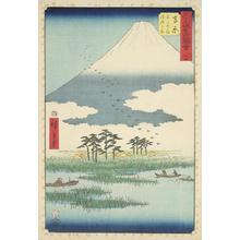 歌川広重: The Fuji Marsh and Ukishima Plain near Yoshiwara, no. 15 from the series Pictures of the Famous Places on the Fifty-three Stations (Vertical Tokaido) - ウィスコンシン大学マディソン校