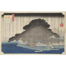 歌川広重: Night Rain at Karasaki, from the series Eight Views of Omi Province - ウィスコンシン大学マディソン校