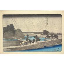 歌川広重: Night Rain at Azuma Grove, from the series Eight Views of the Environs of Edo - ウィスコンシン大学マディソン校