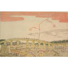 北尾政美: Night View of Ryogoku Bridge, from a series of Small Perspective Views of the Eastern Capital - ウィスコンシン大学マディソン校