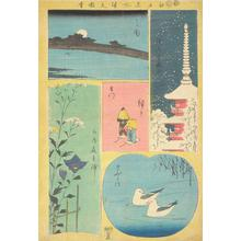 Utagawa Hiroshige: Moon at Mimeguri, Kinryuzan at Asakusa, Autumn Flowers at Hanayashiki in Mukojima, Dolls at the Thunder Gate of Kinryuzan, and Gulls on the Sumida River, from the series Harimaze of Pictures of Famous Places in Edo - University of Wisconsin-Madison