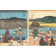 Utagawa Hiroshige: Shijo River Bank in Kyoto, no. 56 from the series Fifty-three Stations (Figure Tokaido) - University of Wisconsin-Madison