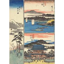 歌川広重: Flower Viewing at Asuka Hill, View of the Sumida River, and Zojoji in Shiba, from the series Famous Places in the Eastern Capital - ウィスコンシン大学マディソン校