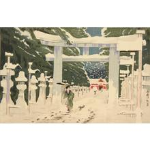 Kobayashi Kiyochika: A Picture of Deep Snow at Tosho Shrine at Ueno - University of Wisconsin-Madison