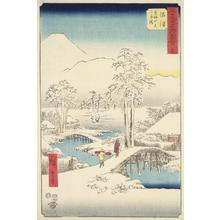 Utagawa Hiroshige: Mt. Fuji and Mt. Ashigara from Numazu in Clear Weather after a Snowfall, no. 13 from the series Pictures of the Famous Places on the Fifty-three Stations (Vertical Tokaido) - University of Wisconsin-Madison