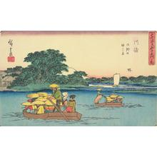 歌川広重: The Rokugo Ferries at Kawasaki, no. 3 from the series Fifty-three Stations of the Tokaido (Gyosho Tokaido) - ウィスコンシン大学マディソン校