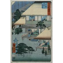 歌川広重: Guests at an Inn at Ishibe, no. 52 from the series Pictures of the Famous Places on the Fifty-three Stations (Vertical Tokaido) - ウィスコンシン大学マディソン校