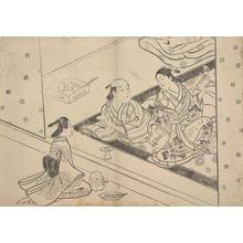 Hasegawa Mitsunobu: Courtesan Entertaining Client with Samisen, from a series of Scenes of Everyday Life - ウィスコンシン大学マディソン校