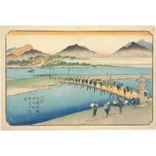 Keisai Eisen: The Ferry on the Kanna River at Honjo Station, no. 11 from the series The Sixty-nine Stations of the Kisokaido - University of Wisconsin-Madison