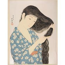 橋口五葉: Woman Combing Her Hair - ウィスコンシン大学マディソン校