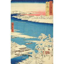 Utagawa Hiroshige: Snowy Morning on the Sumida River in Musashi Province, no. 16 from the series Pictures of Famous Places in the Sixty-odd Provinces - University of Wisconsin-Madison
