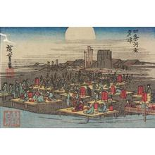 Utagawa Hiroshige: Enjoying the Evening Cool at the Shijo River Bank in Kyoto, from a series of Views of Edo, Osaka, and Kyoto - University of Wisconsin-Madison