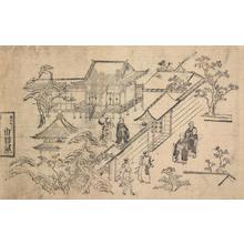 菱川師宣: Priests at Inner Gate of Temple, from the series Flower Viewing at Ueno - ウィスコンシン大学マディソン校
