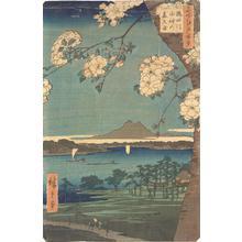 歌川広重: Suijin Grove and Massaki on the Sumida River, no. 35 from the series One-hundred Views of Famous Places in Edo - ウィスコンシン大学マディソン校