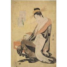 Hosoda Eishi: The Courtesan Morokoshi of the Echizen Establishment Seated by a Writing Table, Lily, from the series Six Beauties of the Licensed Quarters Compared with Flowers - University of Wisconsin-Madison