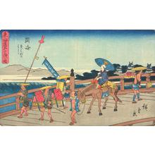 歌川広重: Yahagi Bridge at Okazaki, no. 39 from the series Fifty-three Stations of the Tokaido (Gyosho Tokaido) - ウィスコンシン大学マディソン校