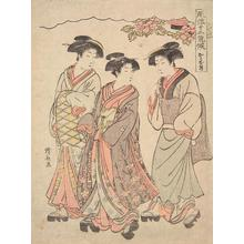 Torii Kiyonaga: Women Strolling with a Young Actor, the Eleventh Month from the series Twelve Elegant Seasons - University of Wisconsin-Madison
