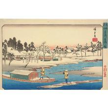 歌川広重: Clear Weather after Snow at Massaki, from the series Famous Places in the Eastern Capital - ウィスコンシン大学マディソン校