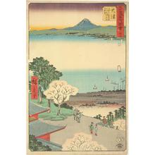 Utagawa Hiroshige: View of Lake Biwa and the Town of Otsu from the Kannon Hall at the Miidera in Otsu, no. 54 from the series Pictures of the Famous Places on the Fifty-three Stations (Vertical Tokaido) - University of Wisconsin-Madison