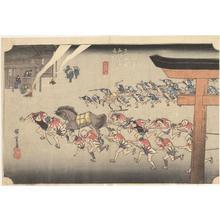 歌川広重: Religious Festival at Atsuta Shrine in Miya, no. 42 from the series Fifty-three Stations of the Tokaido (Hoeido Tokaido) - ウィスコンシン大学マディソン校