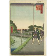 歌川広重: Distant View of Akasaka Reservoir from Kinokuni Slope, no. 85 from the series One-hundred Views of Famous Places in Edo - ウィスコンシン大学マディソン校