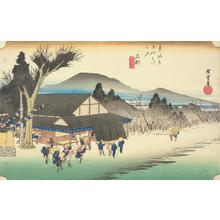 歌川広重: Mekawa Village near Ishibe, no. 52 from the series Fifty-three Stations of the Tokaido (Hoeido Tokaido) - ウィスコンシン大学マディソン校