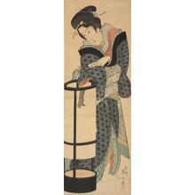 菊川英山: Geisha Adjusting a Lantern - ウィスコンシン大学マディソン校