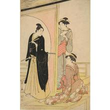 Hosoda Eishi: Young Man and Two Women on Veranda - University of Wisconsin-Madison