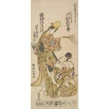 鳥居清満: The Actors Sawamura Sojuro II and Ichimura Uzaemon IXII as Torimasa and a Dancer - ウィスコンシン大学マディソン校