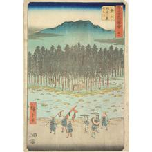 歌川広重: The Suzuka River and Foothills at Tsuchiyama, no. 50 from the series Pictures of the Famous Places on the Fifty-three Stations (Vertical Tokaido) - ウィスコンシン大学マディソン校