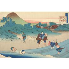 葛飾北斎: Peasants and Travellers by Stream; Illustration of a Verse by Emperor Jito, no. 2 from the series the Hyakunin Isshu as Explained by an Old Nurse - ウィスコンシン大学マディソン校
