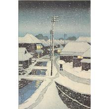 川瀬巴水: Evening Snow at Terajima Village, from the series Twelve Scenes of Tokyo - ウィスコンシン大学マディソン校