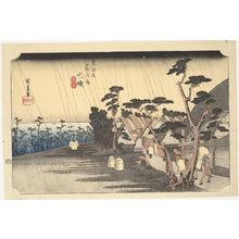 Utagawa Hiroshige: Tora's Rain at Oiso, no. 9 from the series Fifty-three Stations of the Tokaido (Hoeido Tokaido) - University of Wisconsin-Madison