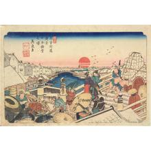 Keisai Eisen: Snowy New Year's Dawn at Nihon Bridge, no. 1 from the series The Sixty-nine Stations of the Kisokaido - University of Wisconsin-Madison